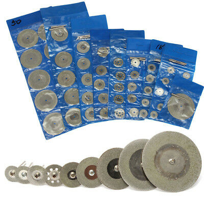 10PCS Diamond Cutting Wheel Discs 16-60mm + 2 Arbor Shaft Bladesfor Rotary