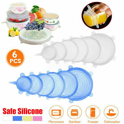 6PCS Magic Silicone Stretch Lid Reusable Wrap Covers Microwave Oven Compatible