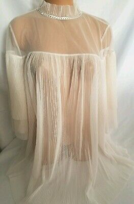 Victoria Secret Lingerie Beige Mesh Vintage Elegant Style Cover Up NWT Large