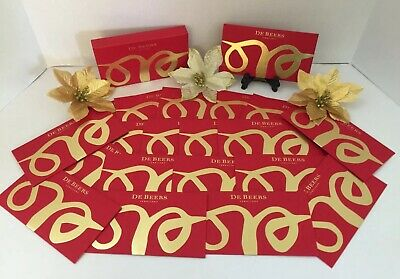 """DeBeers Diamonds Holiday Envelope Red Gold Foil Paper Lot 20 Box 6.5""""x3.5"""""""