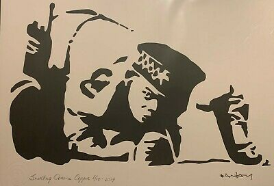 "Banksy, ""Snorting Cocaine Copper"" (Reproduction); Ltd Ed Lithograph"
