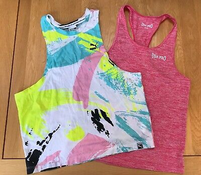 Pair Girls Sports Tops / Vests Age 9-10 Years  Puma / Usa Pro Excellent Cond