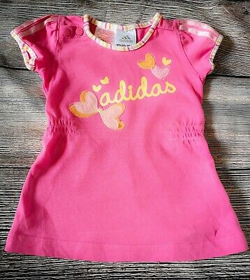 Adidas Baby Girls Dress 0-3 Months Pink Outfit Butterfly Short Sleeve *Gorgeous*
