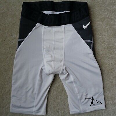 Nike Pro Combat Mens M White Black Baseball Padded Sports Shorts