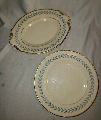 Vintage Syracuse China OPCO Old Ivory SHERWOOD Blue and gold plates lot of 2