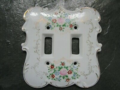 VINTAGE Made in JAPAN Porcelain Ornate Double Light Switch Plate Cover wFlowers