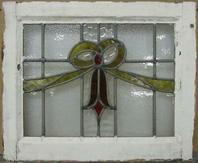 "OLD ENGLISH LEADED STAINED GLASS WINDOW Gorgeous Bow Design 20.5"" x 16.75"""
