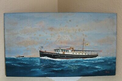 Joe Selby Painting of US Public Health Service Depression WPA Era Steamship
