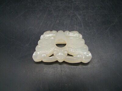 Chinese 19th century nice carved small white Hetian jade pendant  w3347