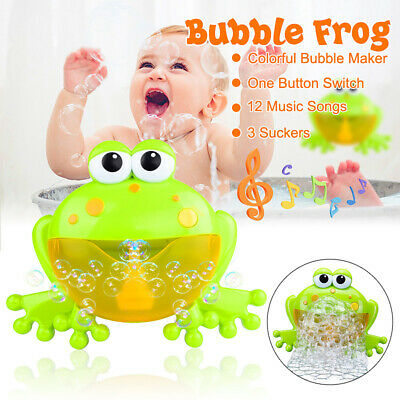 Kids Baby Bubble Tub Frog Automatic Shower Machine Blower Maker Bath Music Toy