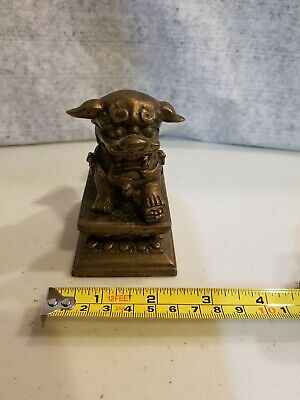 Antique Vintage Chinese heavy Solid bronze Guardian Foo Fu Dog Lion Statue