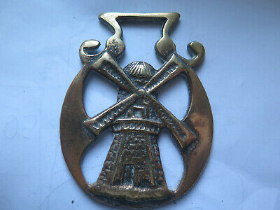 OLD WINDMILL HORSE BRASS BRITISH MADE c1920 MARKED ENGLAND on the BACK
