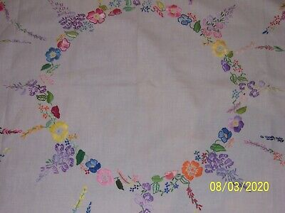 Gorgeous Vintage Hand Embroidered Flowers on White Tablecloth  106cm x 102cm