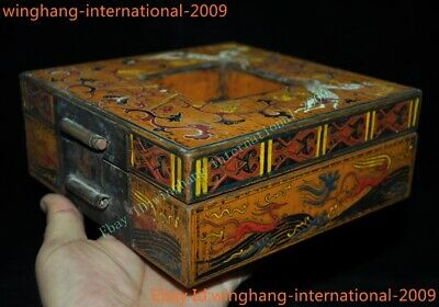 Old Chinese Dynasty Lacquerware Wood Five Dragon storage boxes Jewelry Box