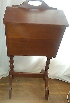 VTG ANTIQUE EARLY Wood Sewing Standing Cabinet Flip TOP~ VGC~Crafts Storage
