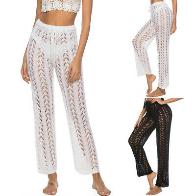 Loose Solid Holiday Beach Crochet Knitted Wide Leg Hollow Out Women Pants Long