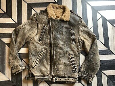 Mens Vintage  Heavily Distressed Sheepskin & Leather Flying Jacket Size Small