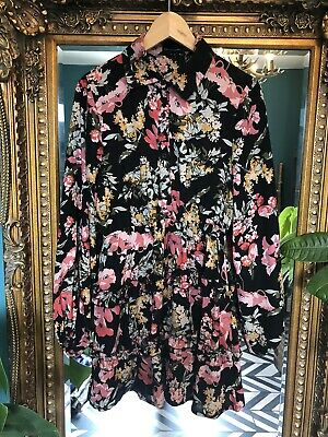 Pretty Little Thing Black & Pink Floral Frill Skirt Mini Dress Size 10
