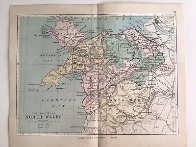 Counties of NORTH WALES, 1884 Original Antique Map, George Philip, Atlas
