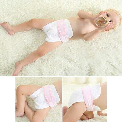 10pcs Cotton Blend Cloth Diapers Wrap Baby 3-Ply Pocket Washable White Prefold