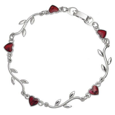 Red Abalone / Paua Shell Heart & Branch Link Silver Bracelet