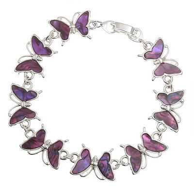Pink Abalone / Paua Shell Butterfly Chain Silver Bracelet
