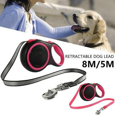 Durable Retractable Dog Dogs Lead Extending Leash Tape Cord Traction Rope 5M/8M