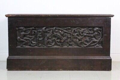 "15th Century Gothic Carved Black Walnut Figural Jesters 50"" Lidded Box Chest"