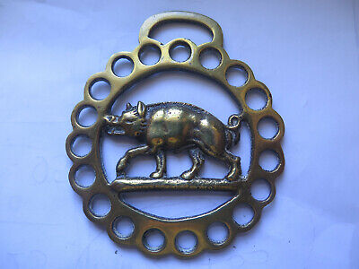 RAZOR BACK PIG BOAR HORSE BRASS BRITISH MADE c1960s EXCELLENT CONDITION
