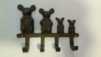 Vintage Brass and Copper Bear Family Wall Mounted Hanger w/ Four 4 Hooks