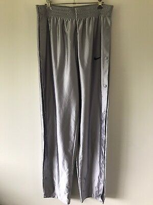Genuine 90's Nike Snap Button Tear Away Track Pants Mens S Silver Very Rare!