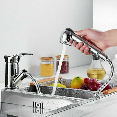 Kitchen Taps Pull Out Spray Basin Mixer Sink Tap Chrome Mono Brass Faucet UK