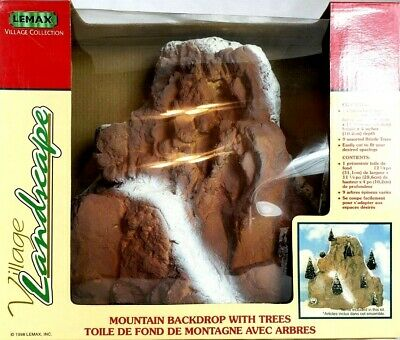 1998 Lemax MOUNTAIN BACKDROP Christmas Train Village Display Accent