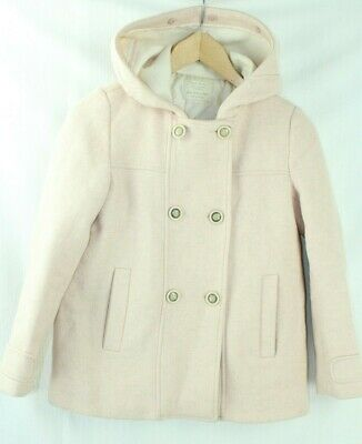 Zara Girls Pale Pink Wool Mix Hooded Duffle Coat Age 13/14yrs