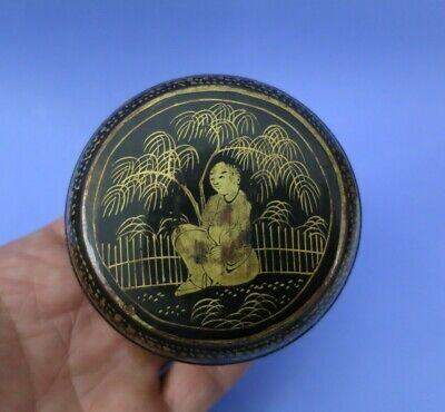 Antique Chinese Lacquered Black & Gilt  Box With Figurine