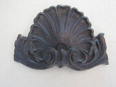 Old Vtg Antique Wood Furniture Architectural Salvage Center Crown Piece Shell