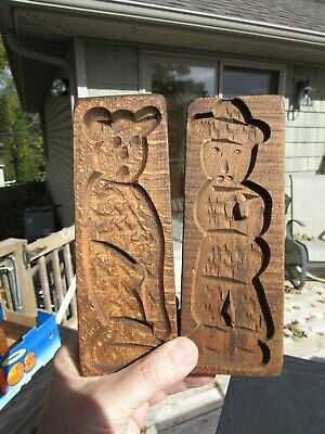 Primitive Antique Early Americana Man And Bear Or Owl ? Butter Press Carved Wood