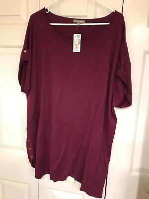 Roz & Ali - Dress Barn NEW Mauve Top/Blouse Short Sleeve 3X FREE SHIPPING