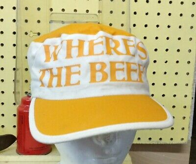 """1984 Wendy's """"Where's The Beef"""" Painter Hat Employee Cap - Excellent Condition"""