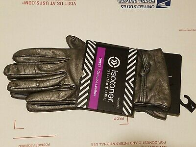 Isotoner Signature Dress Women's Leather Gloves Gunmetal Size 7 new with tag