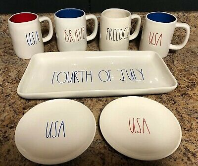 Rae Dunn Mugs Plates Tray Fourth Of July USA  Brave Freedom Red White Blue NEW