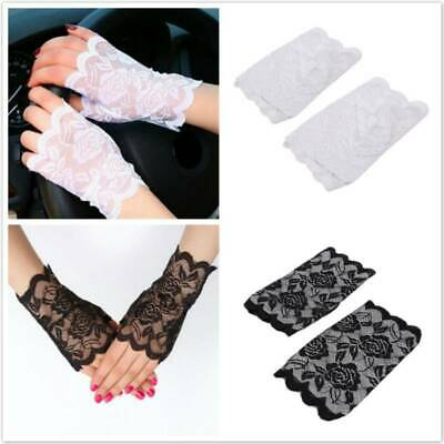 Comfortable Lace Half Finger Gloves Clothing Accessories Soft Elastic Gloves CF