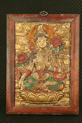 old China tibetan wood inlay bronze  kwan-yin guan yin statue collect wall decor