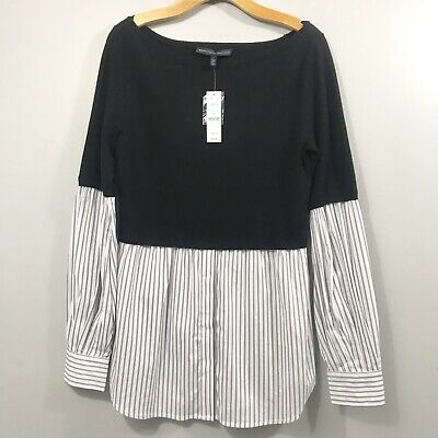 White House Black Market Two-fer Sweater Sz Large Black White New $99