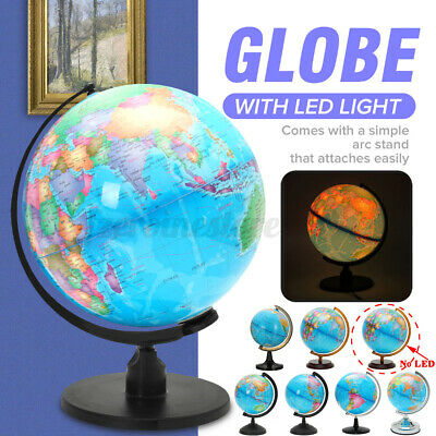 Rotating World Earth Globe  Magnetic Geography Student Map With  LED Light Gift