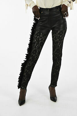 FAUSTO PUGLISI women  Black Leather Streatch Pants Sz S Lace Trimming Frill  ...