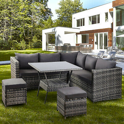 Garden Rattan Furniture - outdoor Patio Furniture Conner Sofa with Dining Table
