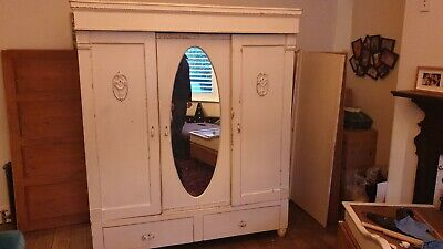 Antique wardrobe with mirror (600d x 1660l x 1925h mm). In need of love & care