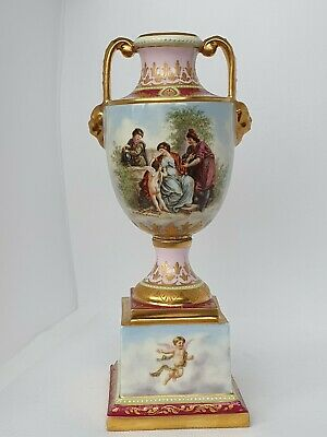 "Royal Vienna Porcelain Urn Vase Title for work ""Gefesselt Phsyche"" Antique"