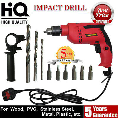 DEWORX 650W Electric Corded Impact Hammer Drill with 10PC Bit Set Tool Kit NEW